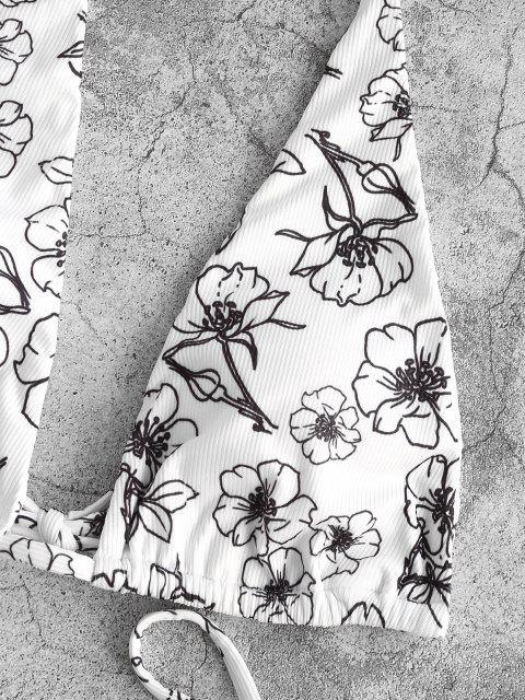 Costume da Bagno Bikini Annodato Floreale a Costine con Nodi Laterali di ZAFUL - Bianca S Mobile