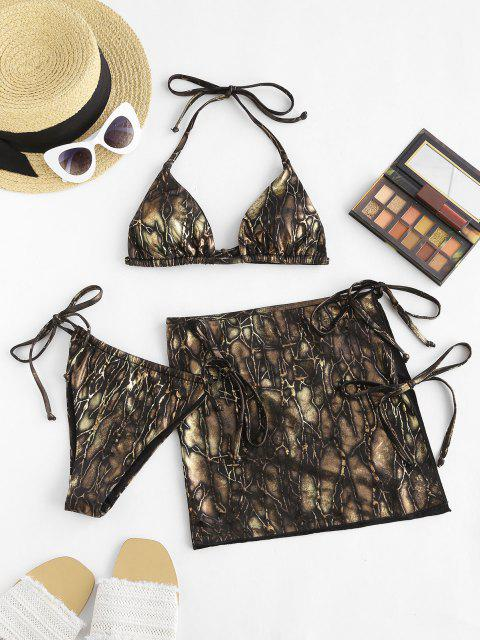 lady ZAFUL Halter Gilding Self-tie Three Piece Bikini Swimsuit - GOLDEN S Mobile