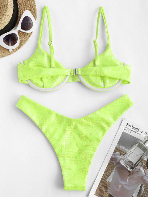 ZAFUL Costume da Bagno Bikini con Stringhe di Bralette con Effetto Serpente a Taglio Alto - Verde M Mobile