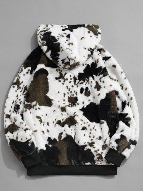 shop ZAFUL Animal Pattern Faux Fur Fluffy Hoodie - WHITE 2XL Mobile