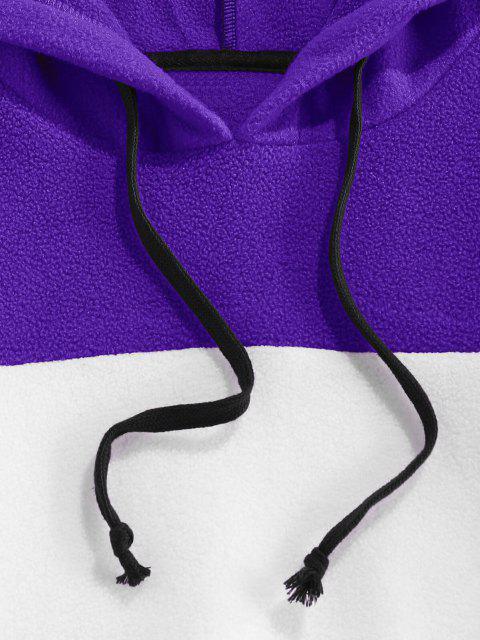 ZAFUL Sweat à Capuche Contrasté à Cordon en Laine - Iris Pourpre XL Mobile