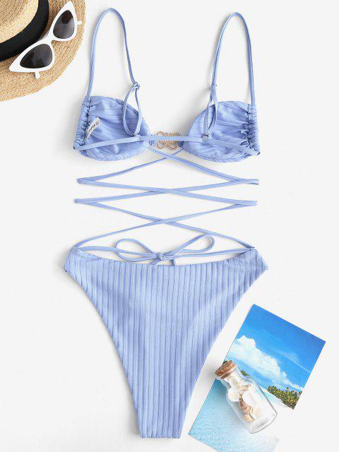 fashion ZAFUL Ribbed Diamante Butterfly Crisscross High Leg One-piece Swimsuit - LIGHT BLUE S Mobile