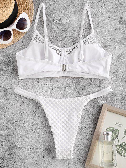 Costume da Bagno Bikini con Ferretto e Perizoma con Pannello a Rete di ZAFUL - Bianca S Mobile