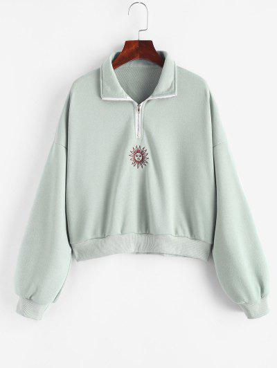 French Terry Half Zip Sun Embroidered Sweatshirt - Green L