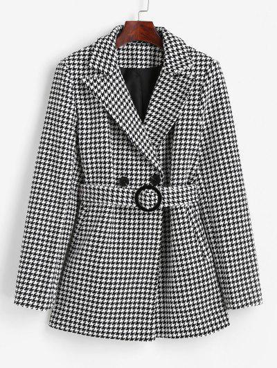 Hahnentritt Tweed Blazer Mit Gürtel Und Taschen - Schwarz S