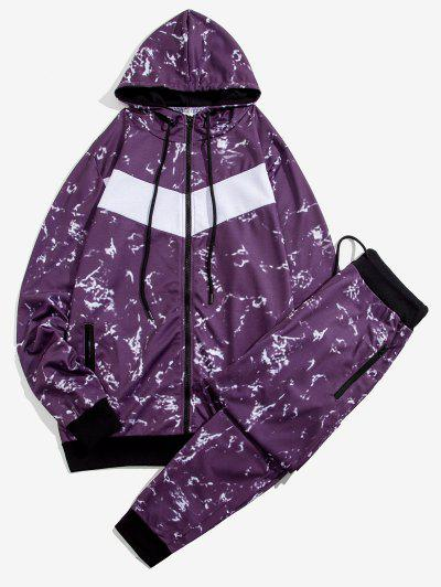 Marble Print Contrast Hoodie And Pants Two Piece Set - Purple Xs