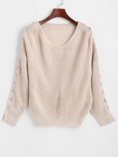 Grommet Lace-up Drop Shoulder Sweater - Light Pink
