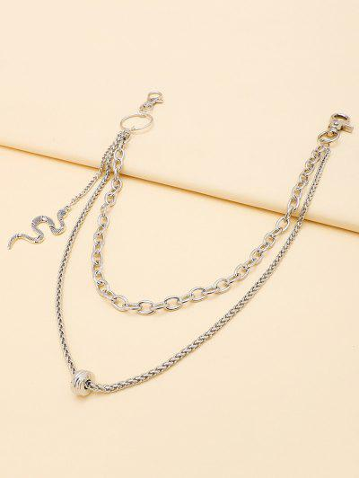 Carved Snake Pendant Layered Trousers Chain - Silver