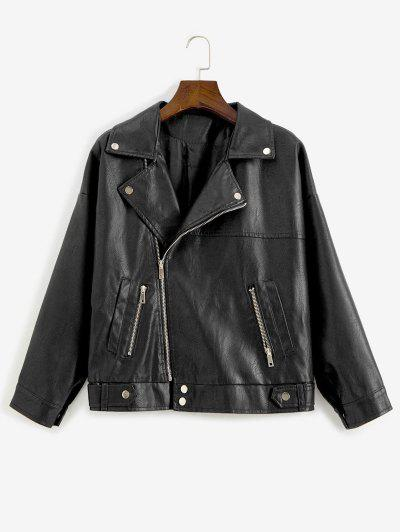 Zip Up Pockets Faux Leather Biker Jacket` - Black M