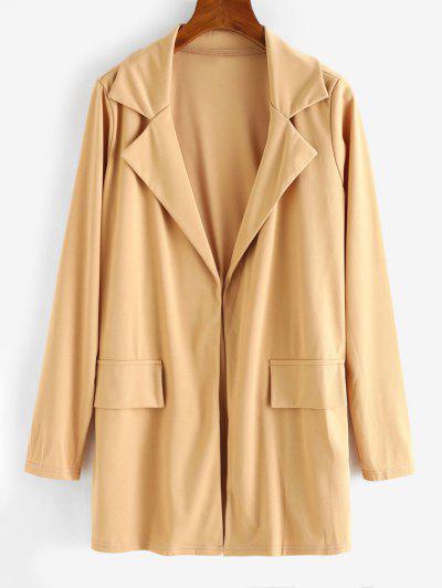Open Front Flap Detail Tunic Blazer - Light Coffee Xl