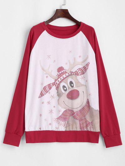 Christmas Funny Elk Raglan Sleeve Snowflake Sweatshirt - Red L
