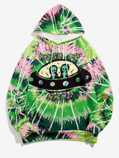 Sweat à Capuche UFO Géométrique Teinté Imprimé - Vert Pomme Xl