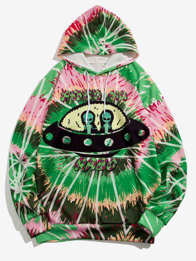 ET UFO Spiral Tie Dye Print Hoodie - Medium Spring Green 3xl