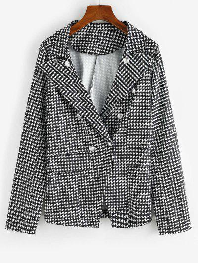 Houndstooth Double Breasted Flap Detail Blazer - Black S