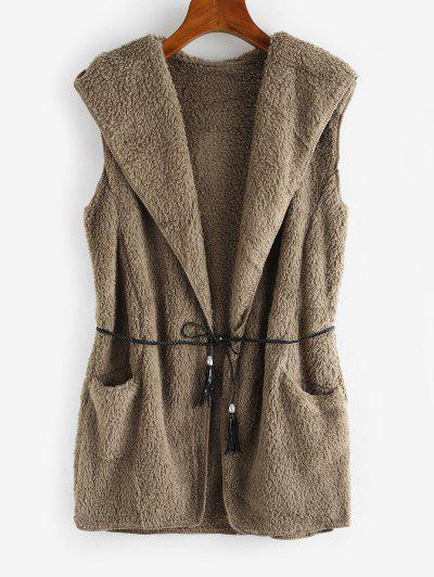 Hooded Fluffy Open Front Pocket Waistcoat - Gray