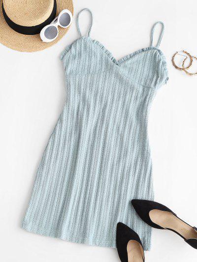 Vestido De Vaina Con Ribete Escotado Con Volantes - Azul Claro S