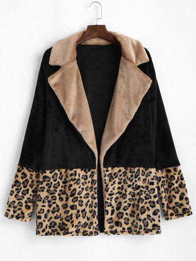 Plus Size Fluffy Leopard Panel Open Front Coat - Black 2xl