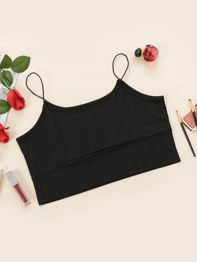 Plus Size Ribbed Bungee Strap Cropped Camisole - Black 1xl