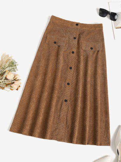 ZAFUL Corduroy Snap Button Flap Detail Skirt - Coffee S