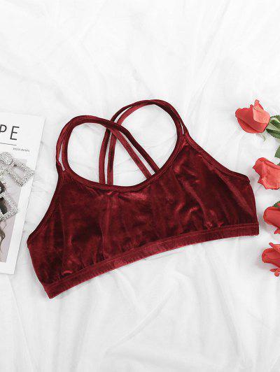 Plus Size Velvet Dual Straps Crisscross Back Bralette - Deep Red 3xl