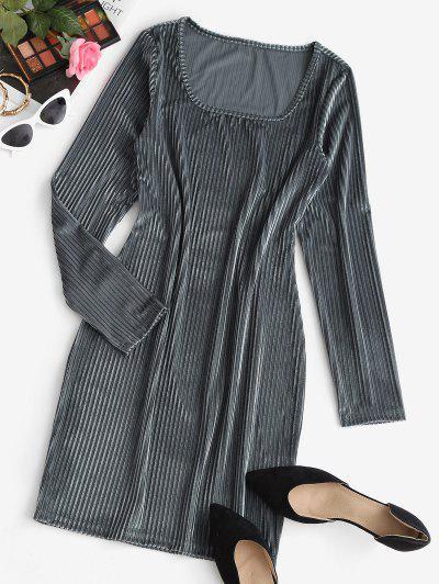 Velvet Sheath Mini Dress - Dark Gray M
