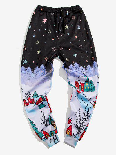 Starry Sky Village Print Sports Pants - Black 2xl