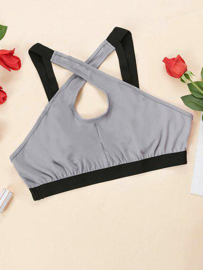 Plus Size Contrast Band Crossover Front Bralette - Gray 1xl
