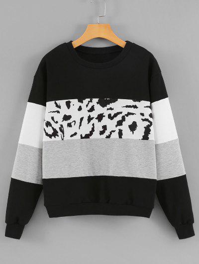 Crew Neck Leopard Panel Colorblock Sweatshirt - Black S