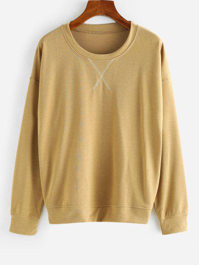 Drop Shoulder French Terry Pullover Sweatshirt - Coffee Xl
