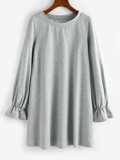 ZAFUL Poet Sleeve French Terry Sweatshirt Dress - Light Gray M
