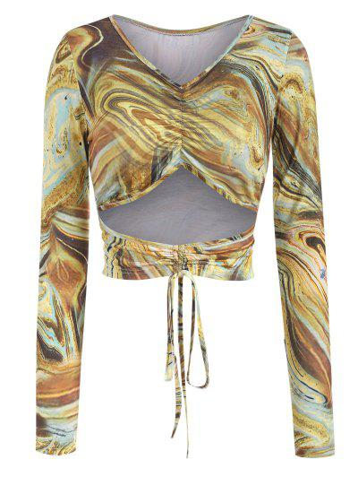 Agate Print Cutout Cinched Tie Baby Tee - Light Coffee M