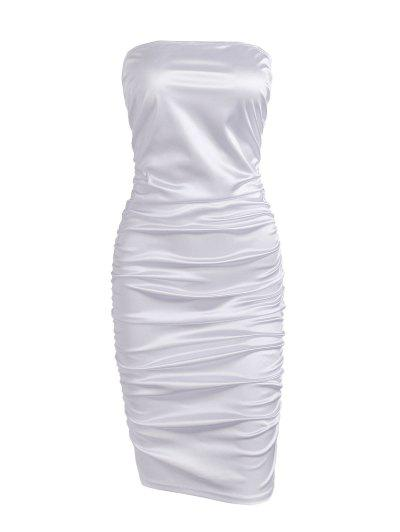 Ruched Tube Bodycon Club Dress - White L