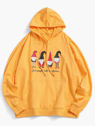 Christmas Santa Claus Print Kangaroo Pocket Hoodie - Yellow L