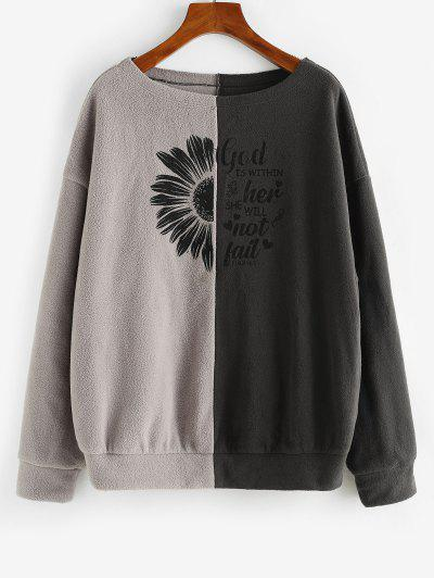 ZAFUL Floral Letter Two Tone Polar Fleece Sweatshirt - Deep Coffee Xl