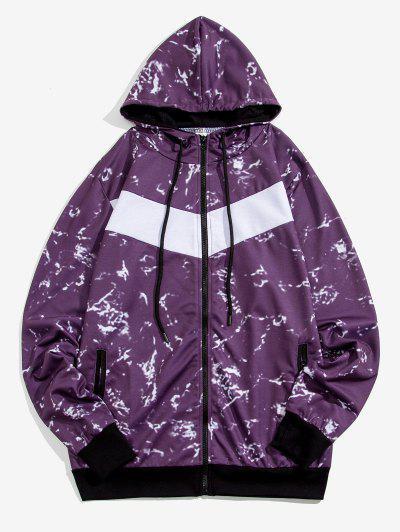 Hooded Marble Print Zip Up Jacket - Purple M