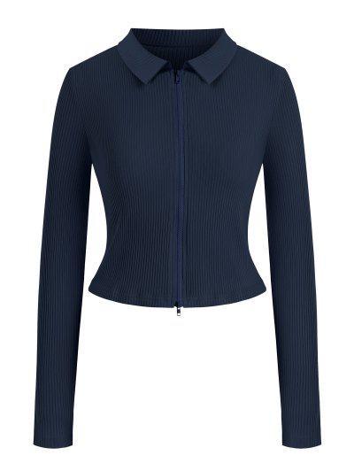 T-shirt Côtelé Zippé En Couleur Unie De Grande Taille - Bleu Profond L