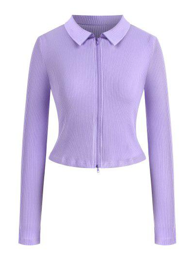 Zip Up Ribbed Solid Plus Size Tee - Light Purple L
