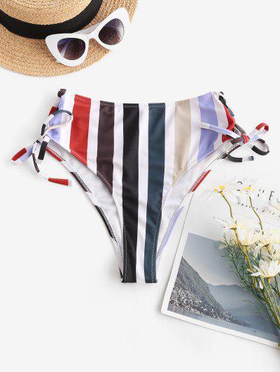 ZAFUL Bas De Bikini Rayé Noué à Taille Haute à Lacets - Multi L