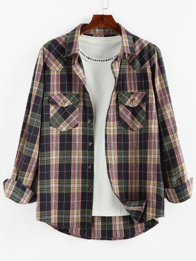 ZAFUL Plaid Printed Double Pockets Button Up Shirt - Viola Purple M