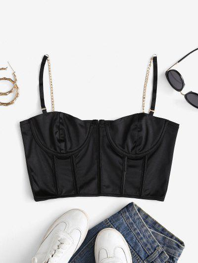 Underwire Chain Straps PU Corset Crop Top - Black S