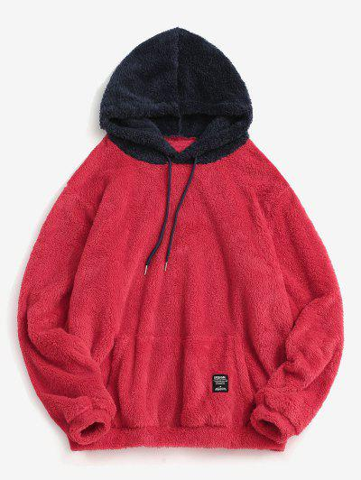 Colorblock Splicing Drawstring Fluffy Hoodie - Valentine Red 2xl