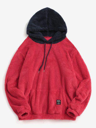Farbblock Spleißen Tunnelzug Flauschiges Hoodie - Valentinstag Rot 2xl