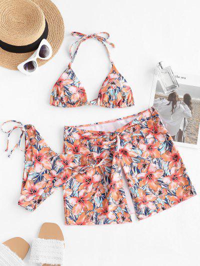 ZAFUL Blumen Halter Hohes Bein Verdrehte Dreiteilige Stück Bikini Badebekleidung - Hell Orange M