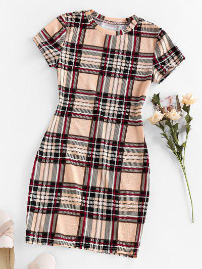 ZAFUL Plaid Mini Bodycon Dress - Apricot M