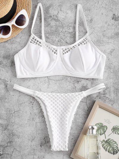 ZAFUL Bügel Fischnetz Panel Tanga Bikini Badebekleidung - Weiß L