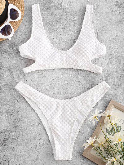 ZAFUL Fishnet Overlay Cutout Bikini Swimwear - White S