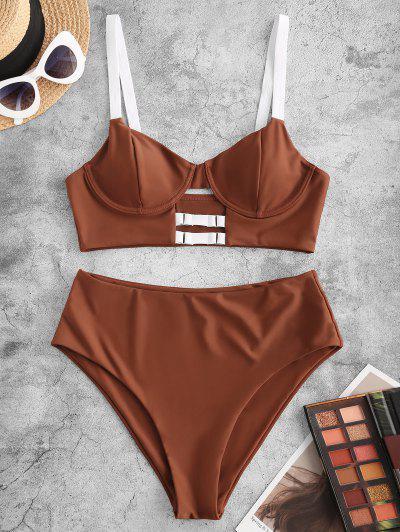 ZAFUL Rings Keyhole Underwire Tankini Swimwear - Coffee Xl