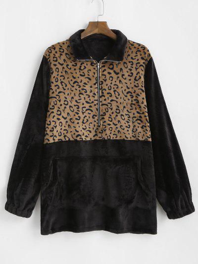 Übergröße Leopard Panel Halber Reißverschluss Flauschiges Sweatshirt - Schwarz 3xl