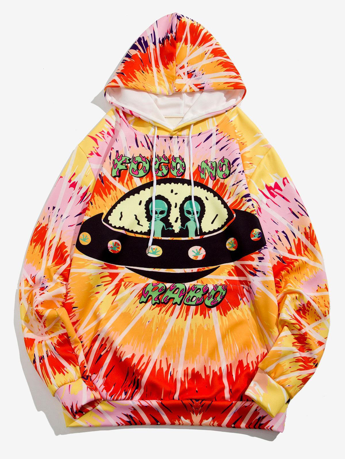 Sweat à Capuche UFO Géométrique Teinté Imprimé M Jaune soleil