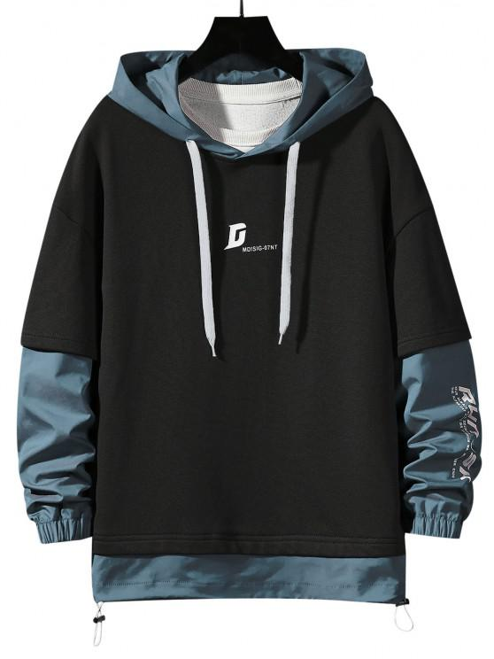 Letter Print Faux Twinset Hoodie - أسود S
